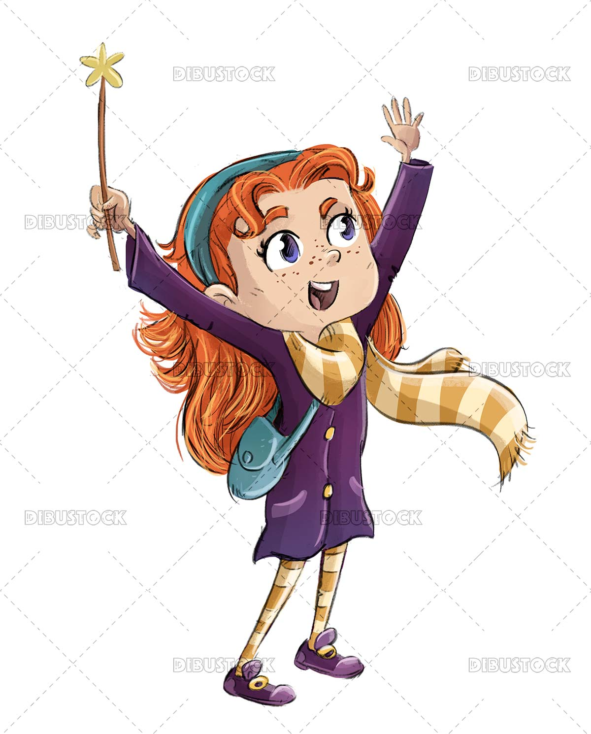 Witch girl with wand doing magic