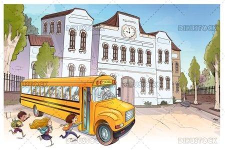 Children taking the school bus