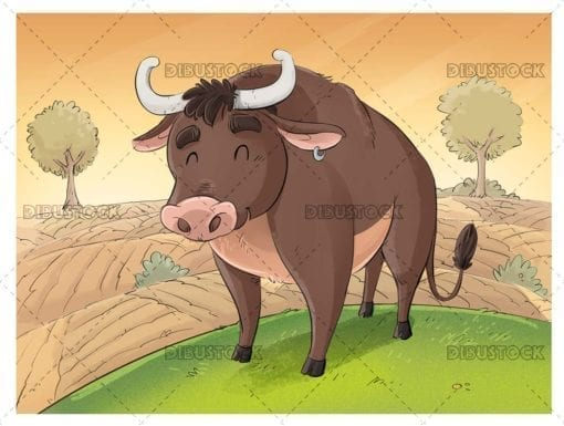 Funny bull in the field