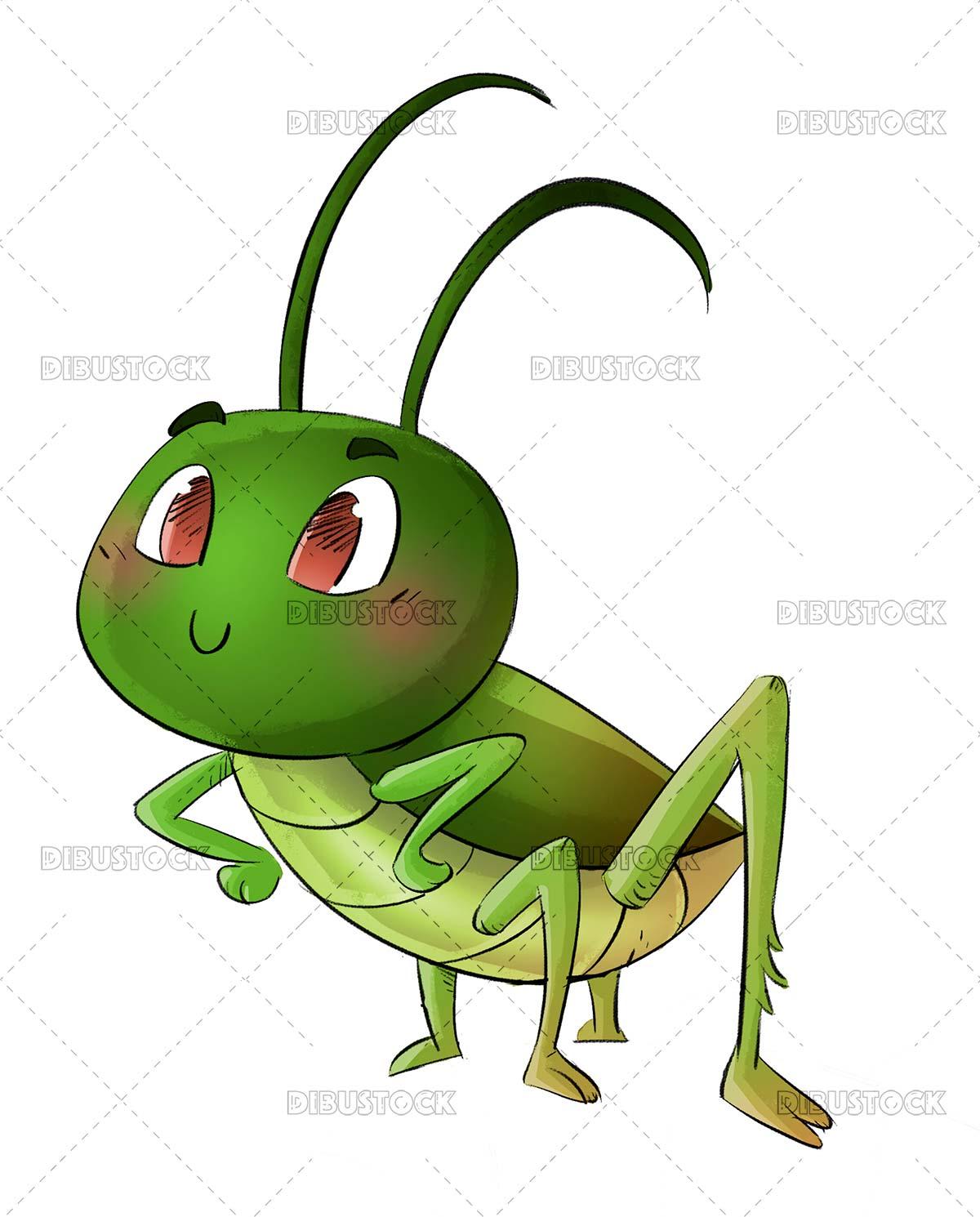 Funny green grasshopper