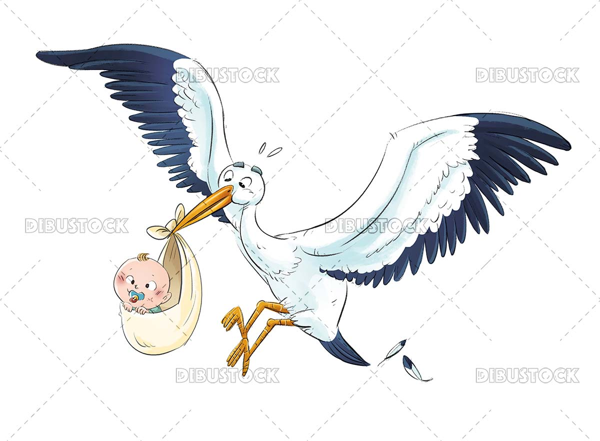 Funny stork carrying a baby