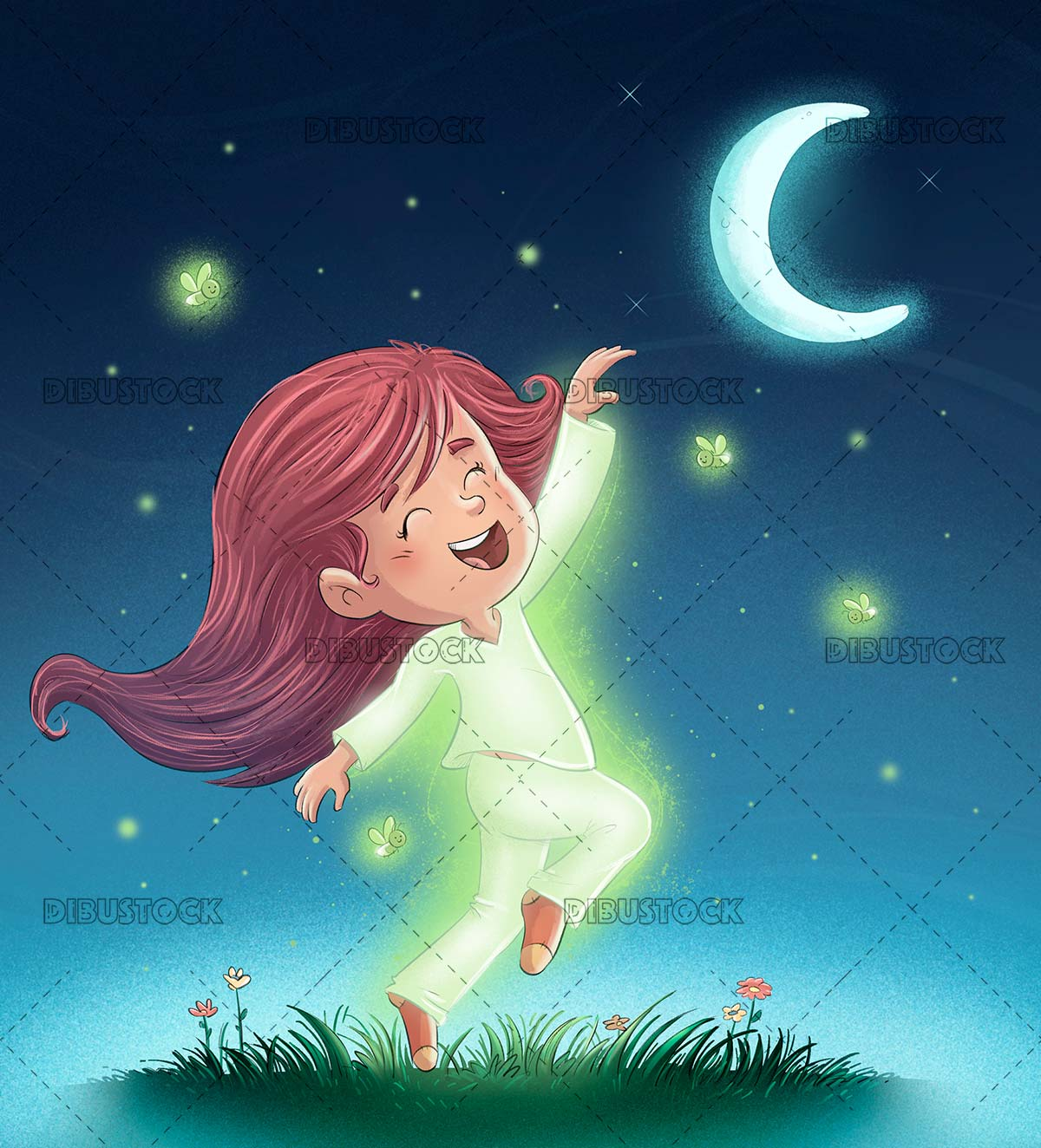 Girl dancing at night with fireflies