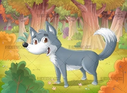 Gray wolf in the forest