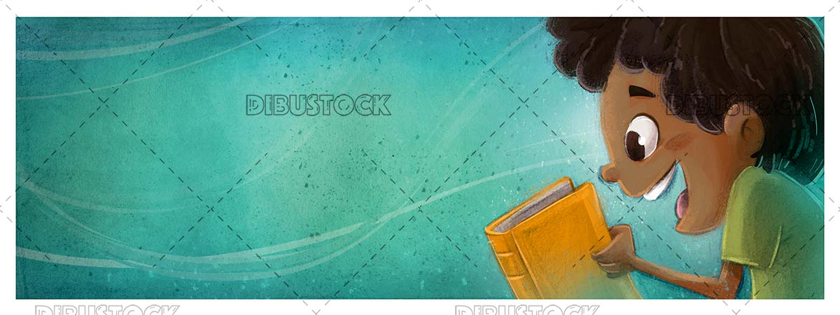 Happy face of boy reading a book