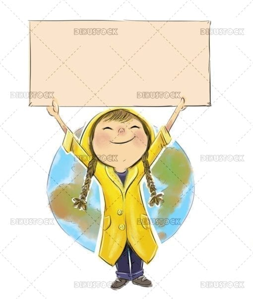 Little ecologist girl with placard