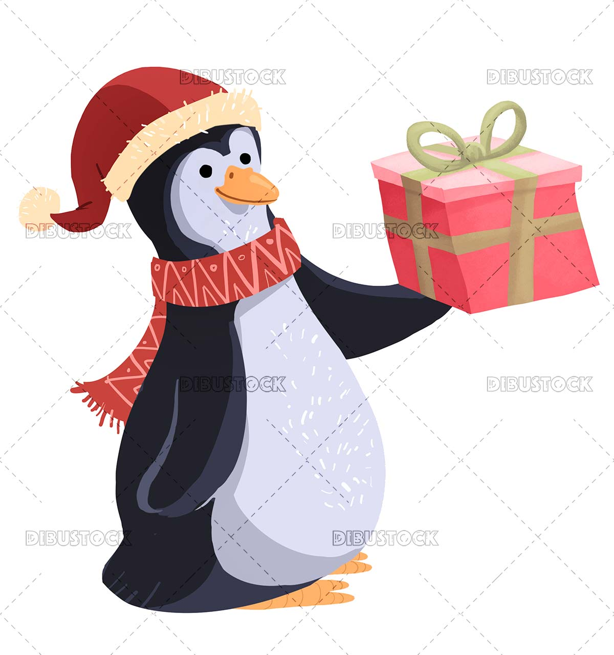 Penguin with christmas gift