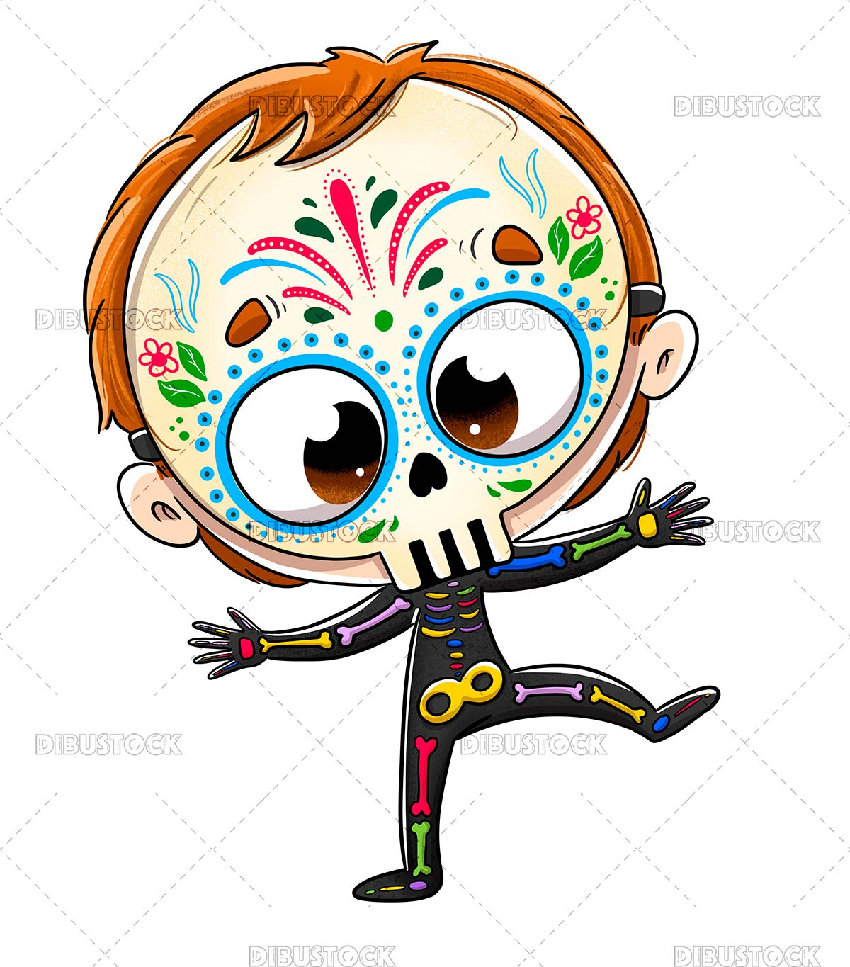 A boy disguised as a skeleton with a Mexican halloween mask