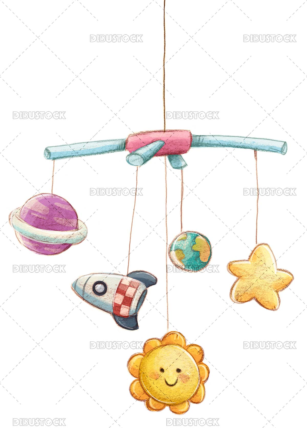 Baby mobile with planets and spaceship