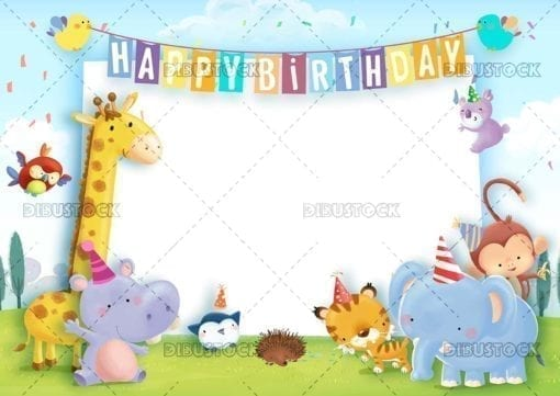 Birthday greeting with animal frame