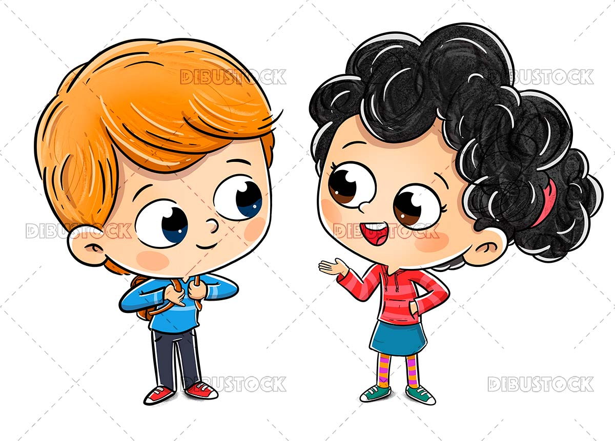 Boy and girl talking to each other on a white background