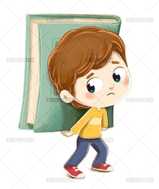 Boy carrying book tired of studying