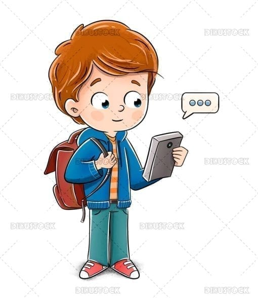 Boy chatting with smart phone on his way to school