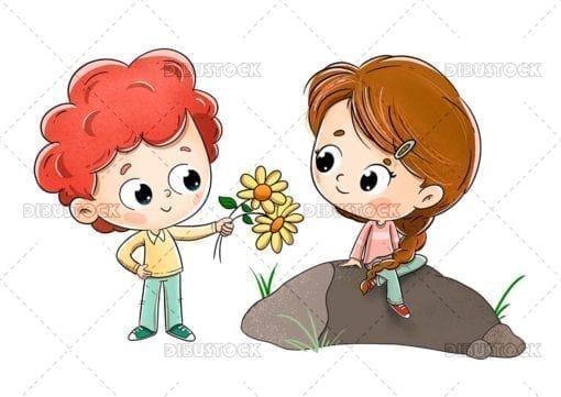 Boy giving flowers to a girl with white background