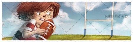 Boy playing rugby
