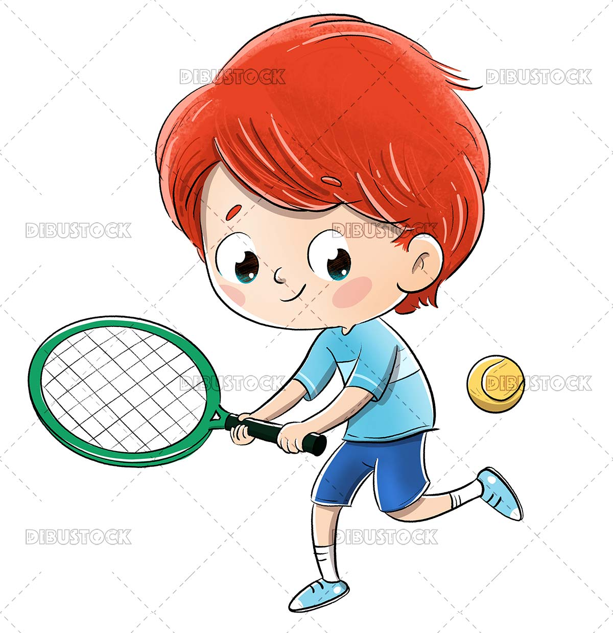 Boy playing tennis with a racket