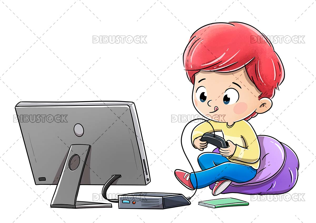 Boy playing video game console on TV