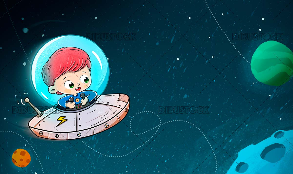 Boy traveling in a spaceship through space