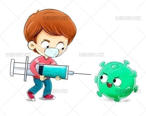 Boy with a vaccine fighting a virus