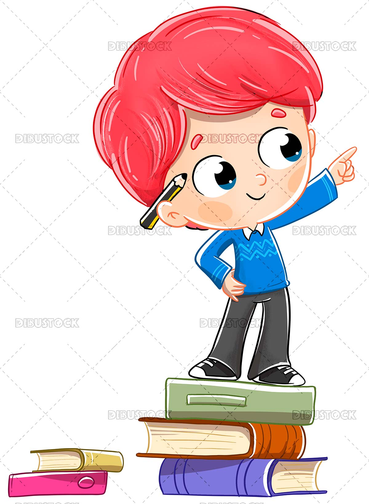 Child on books pointing at something