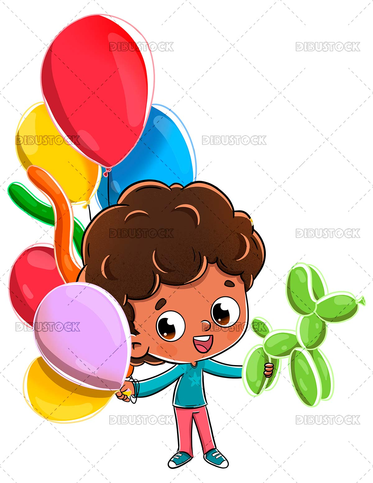 Child playing with balloons