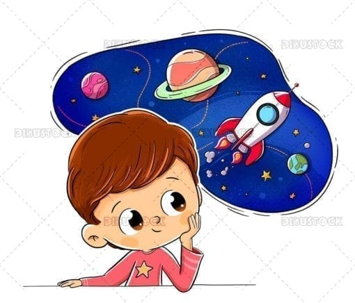 Child thinking imagining space