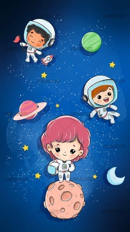 Children floating in space in astronaut suits with planets and stars vertical