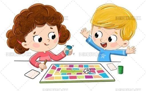 Children playing a board game