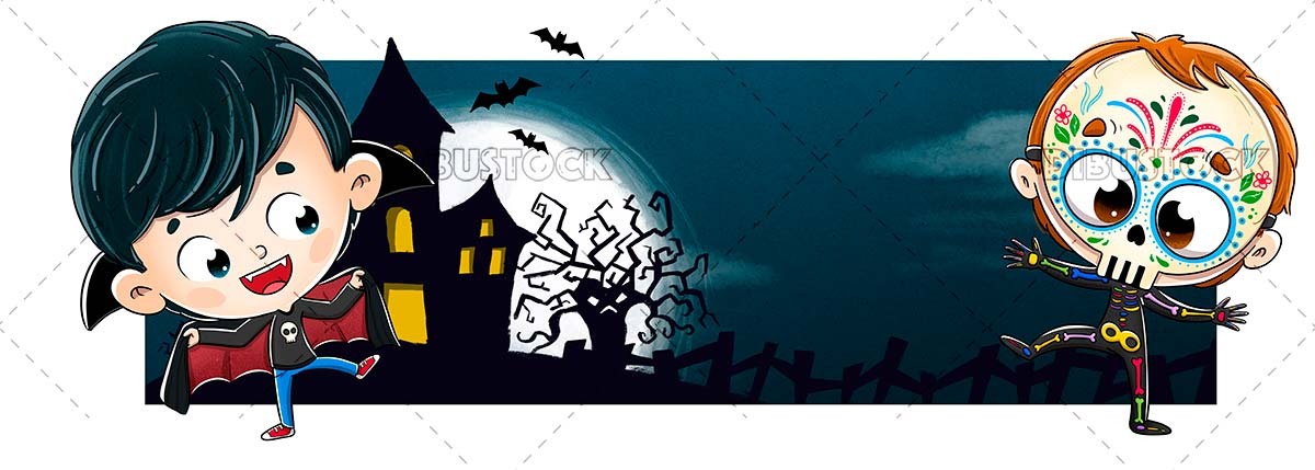 Dracula and Mexican skeleton with terror background