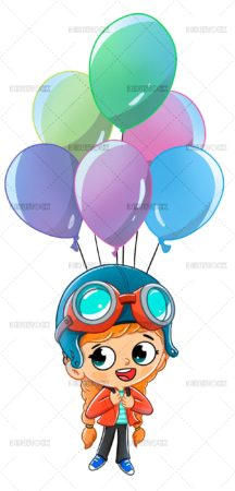 Girl flying with balloons