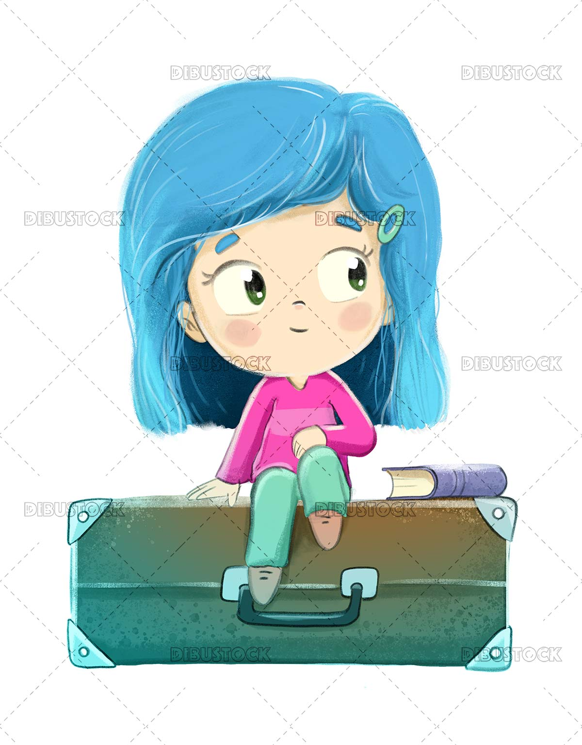 Girl sitting on a suitcase waiting