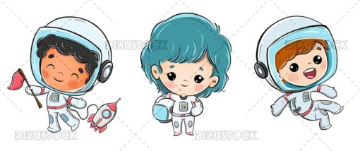 Group of astronaut kids with white background