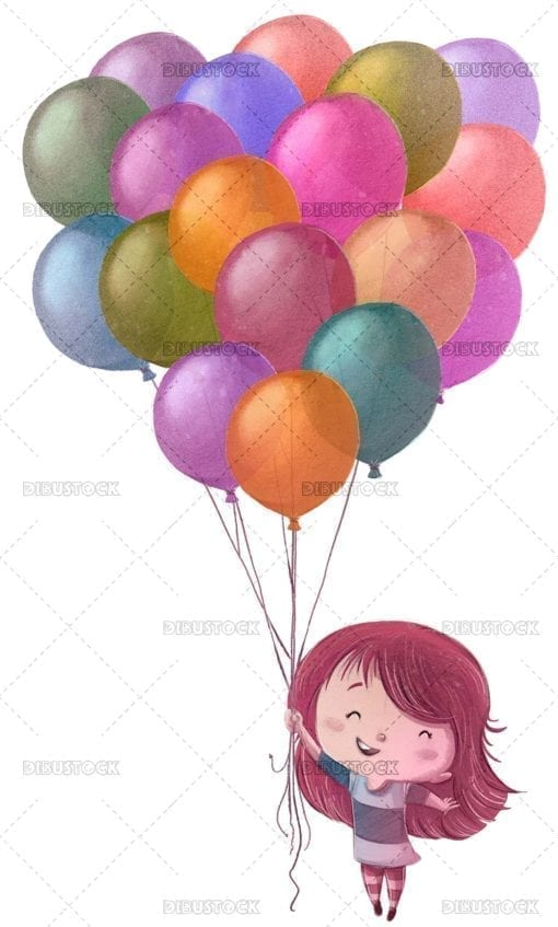 Little girl flying with colorful balloons