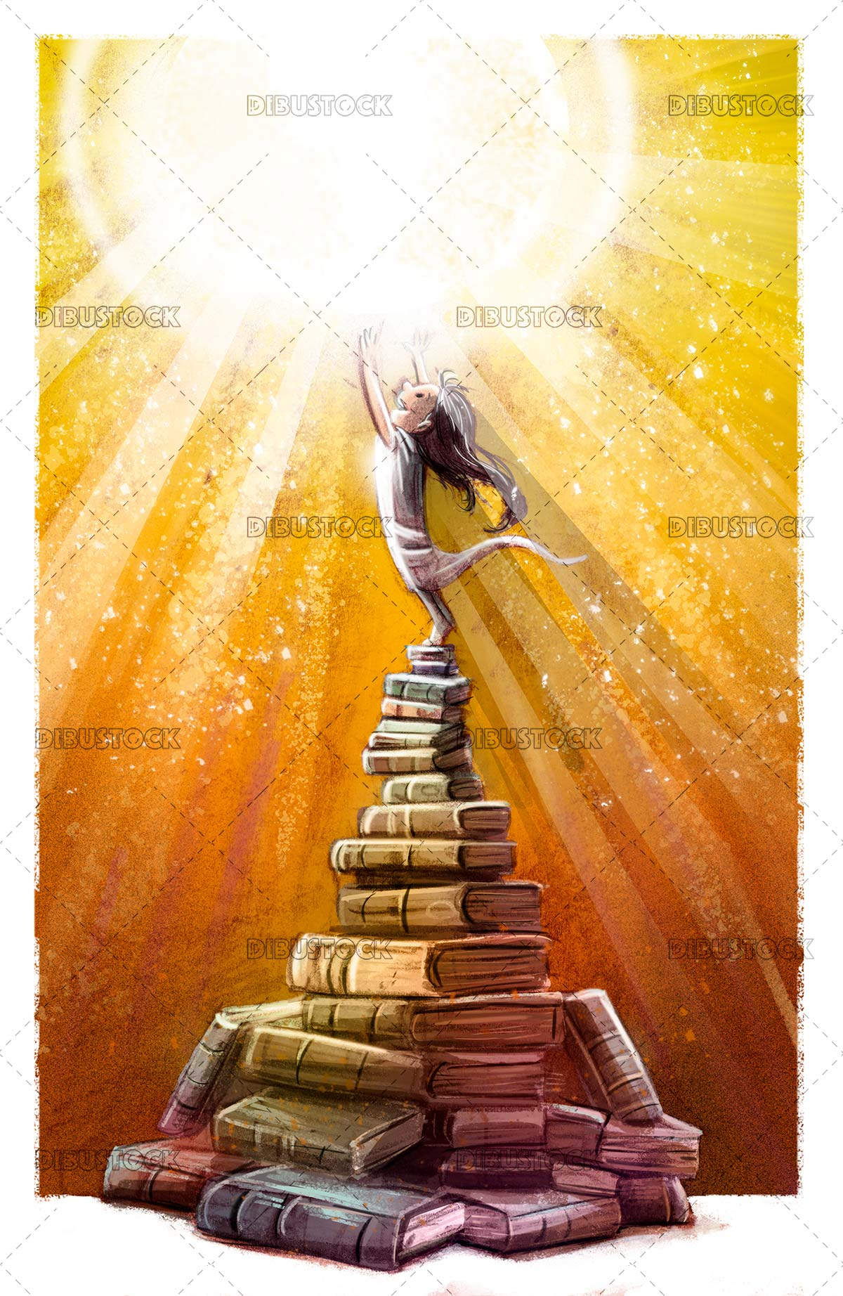Little girl on top of pile of magic books