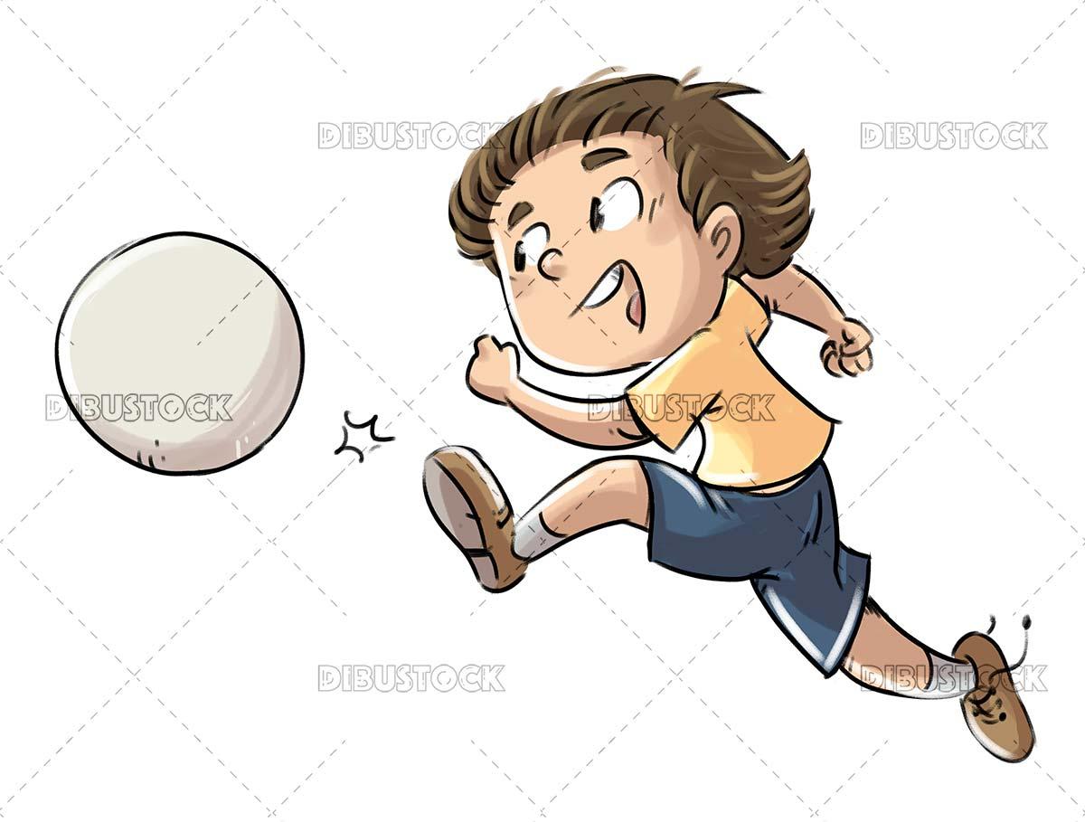 Soccer boy kicking a ball