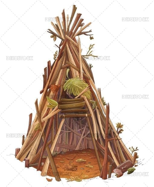Tent made of sticks
