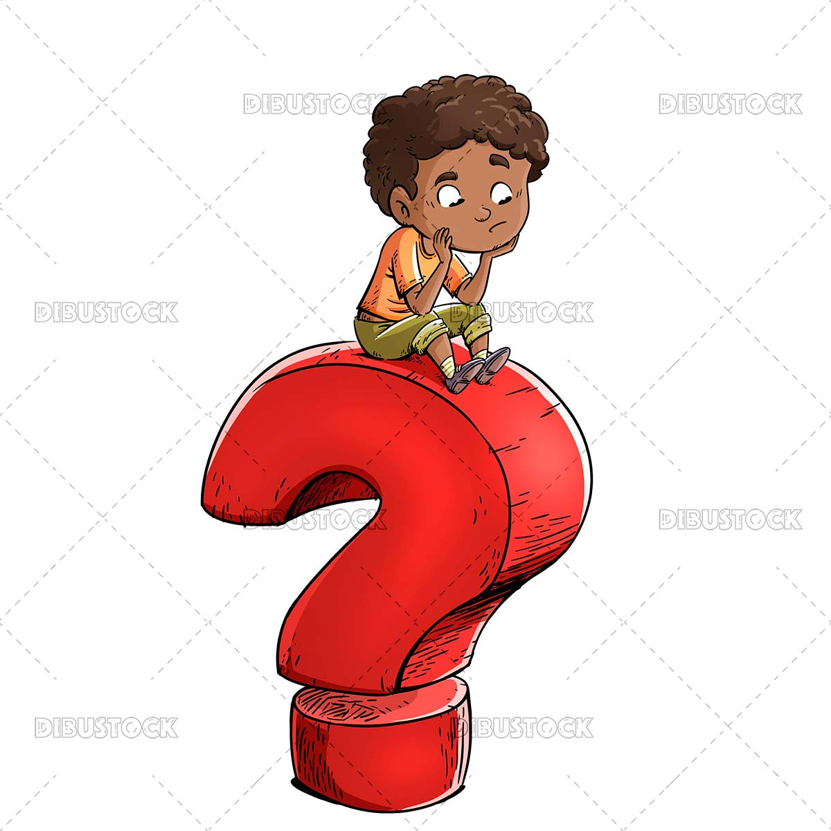 Thoughtful child with question symbol