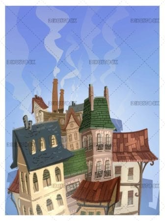 View of house with chimneys
