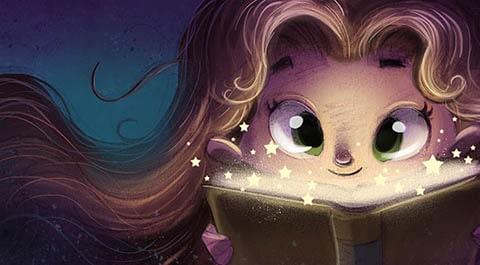 girl face reading a magic book L min
