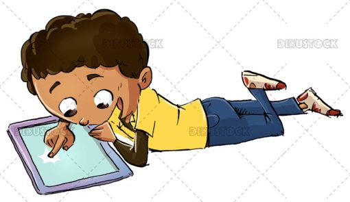 Afro boy lying with a tablet