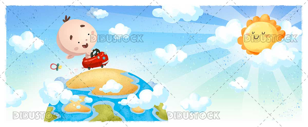 Baby in car touring the world