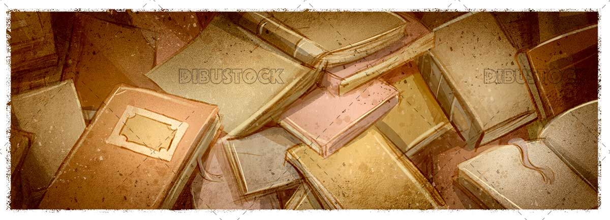 Background with books in sepia color