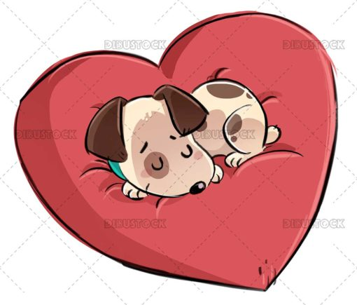 Dog with heart shaped cushion