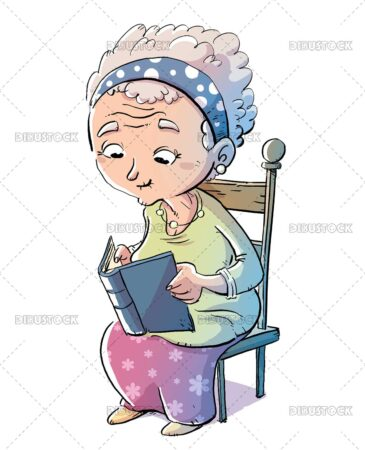 Elderly woman sitting on a chair reading a book