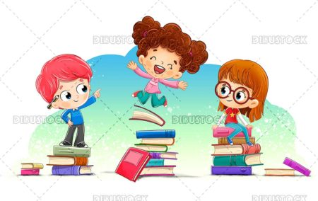 Group of children with many books