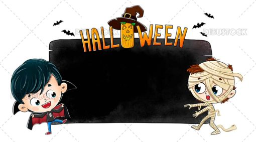 Halloween Poster with Kids in Costume