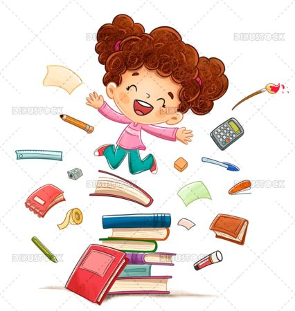 Happy girl jumping on some books surrounded by school supplies