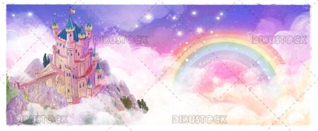 Magic castle in the sky with rainbow