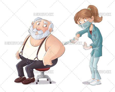 Nurse injecting a vaccine to an elderly man