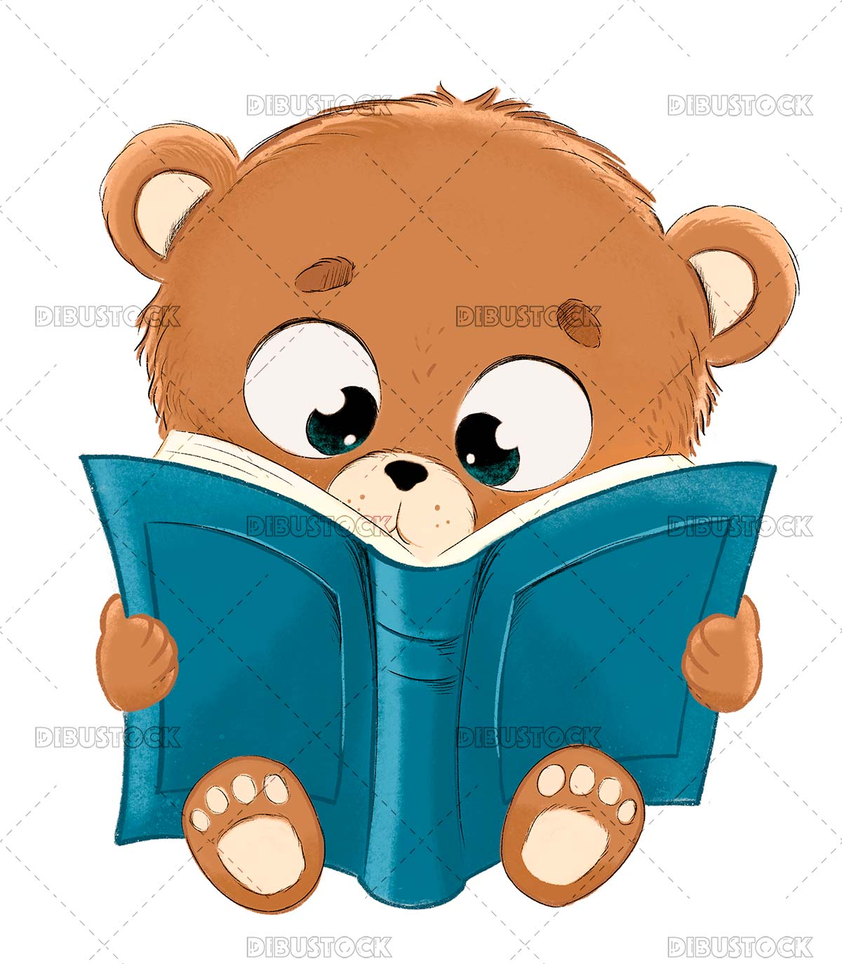 Teddy reading a book