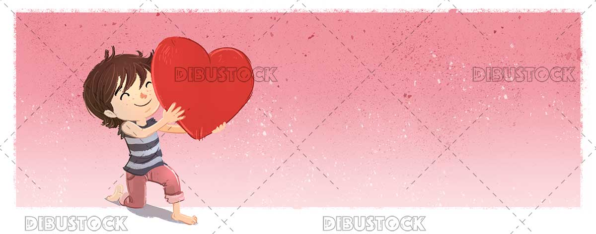 Boy holding a giant heart